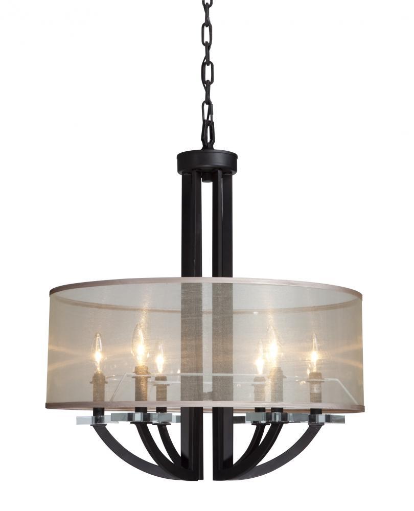six light organza shade rubbed bronze drum shade pendant 6x2un gerrie lighting studio