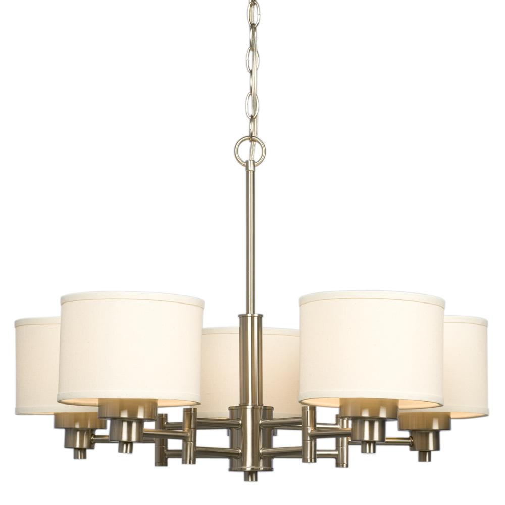 light chandelier brushed nickel with ivory white linen shades