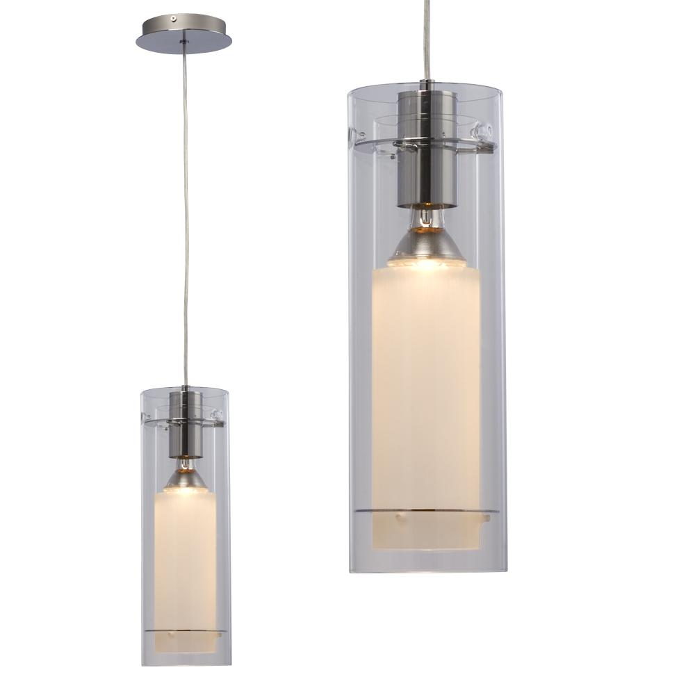 Gerrie Lighting Studio in Oakville, Ontario, Canada,  6XDM3, Mini Pendant - Chrome with Frosted / Clear Glass (6 ft Wire), Diego, Chrome