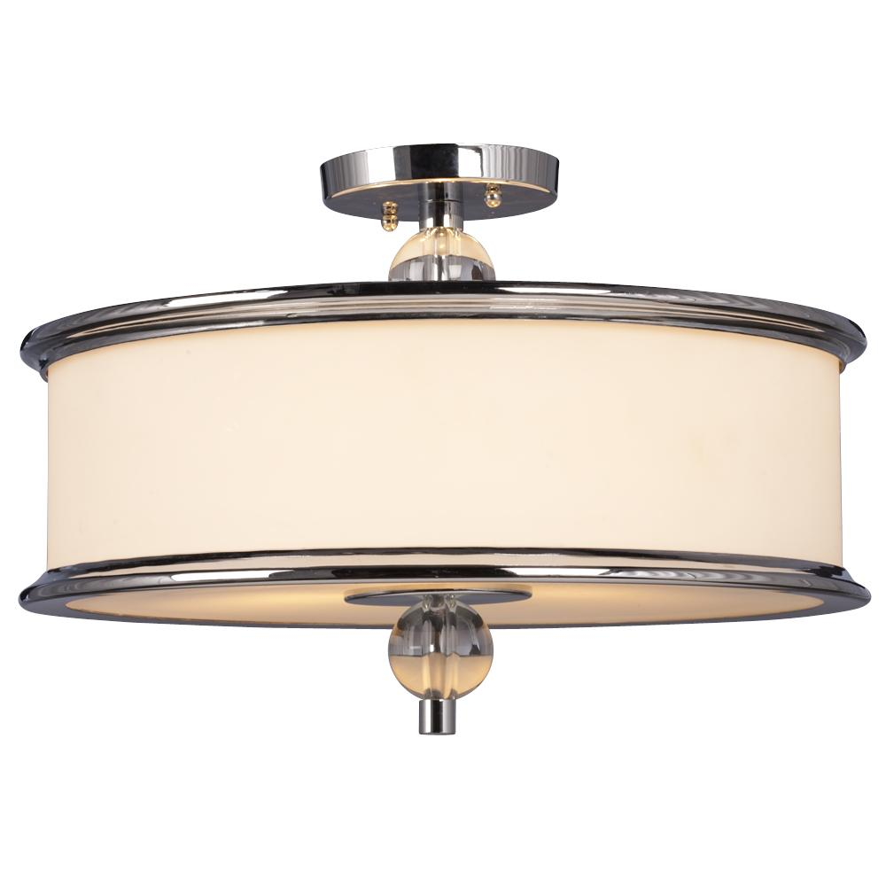 light semi flush mount polished chrome with white glass 6xght. Black Bedroom Furniture Sets. Home Design Ideas
