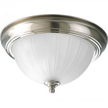 Progress P3816-09EB - One Light Brushed Nickel Etched Ribbed Glass Bowl Flush Mount